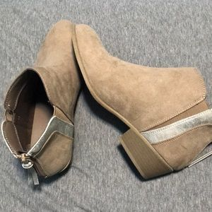 Silver and Tan Faux Suede Booties